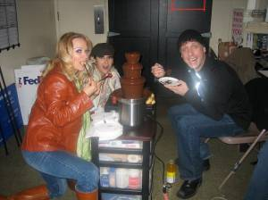 Paula, Jamie and Chris test the fountain