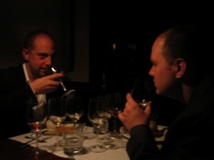 Karl and Brian tasting their dessert wines