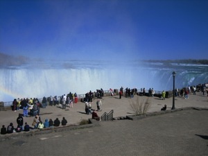 People looking over the Canadian Falls