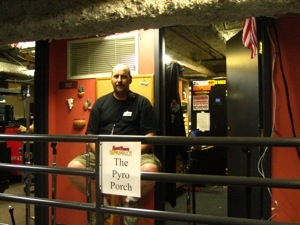 Mike Berg on the Pyro Porch, in the basement of the Murat