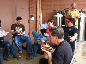 Eating and keeping dry on the loading dock