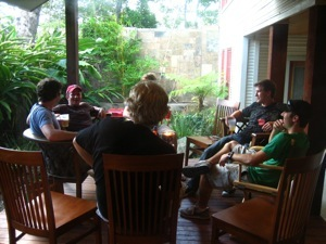 The boys hanging out on the porch at Adam and Darryl's