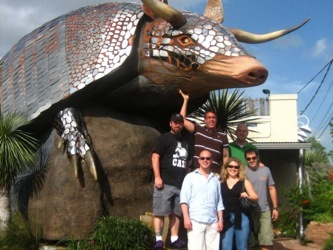 Ryan, Ken, Jovon, Rick, Anne and Karl outside the Armadillo Palace