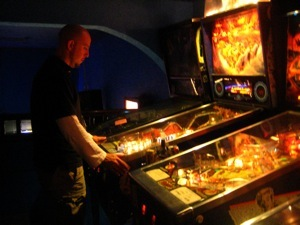 Karl playing pinball