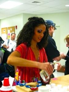 Jenn pouring shots