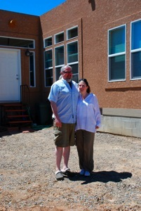 Michael and Tanya is front of their house