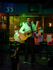 "Patrick at open mic night at the ""Hootenanny"""