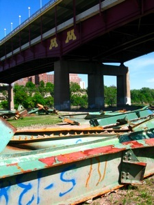 The remains of the bridge collapse