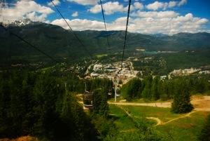 Riding the gondola up Whistler Mountain