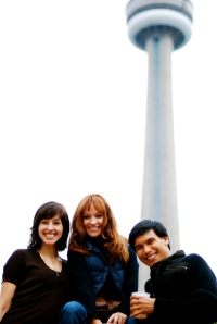 Sarah Lin, Paula and Darryl on the roof