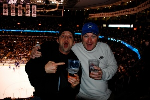 Matt and Scott at the hockey game