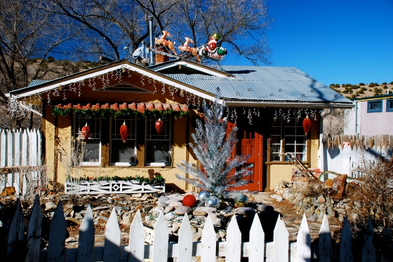 A house decorated for Christmas in Madrid, NM.