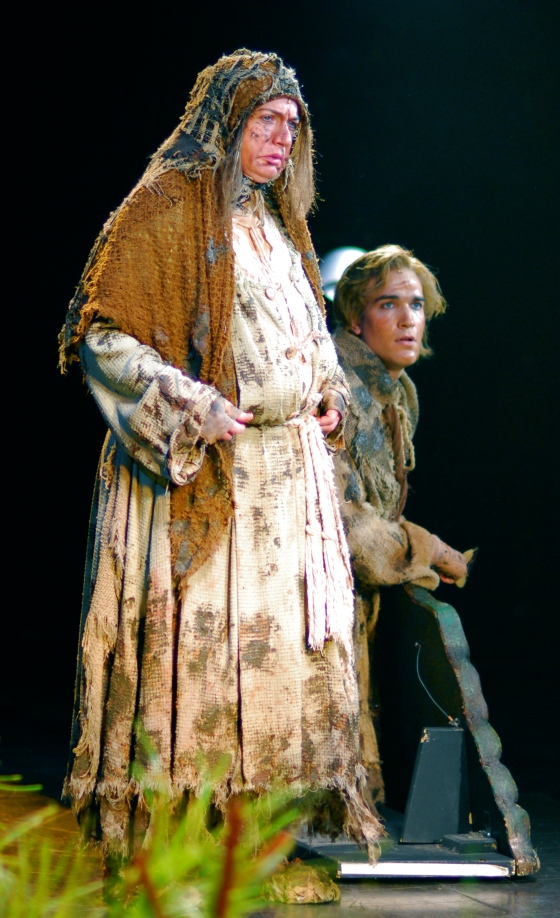 David as Dennis, with Christopher Gurr as Mrs. Galahad