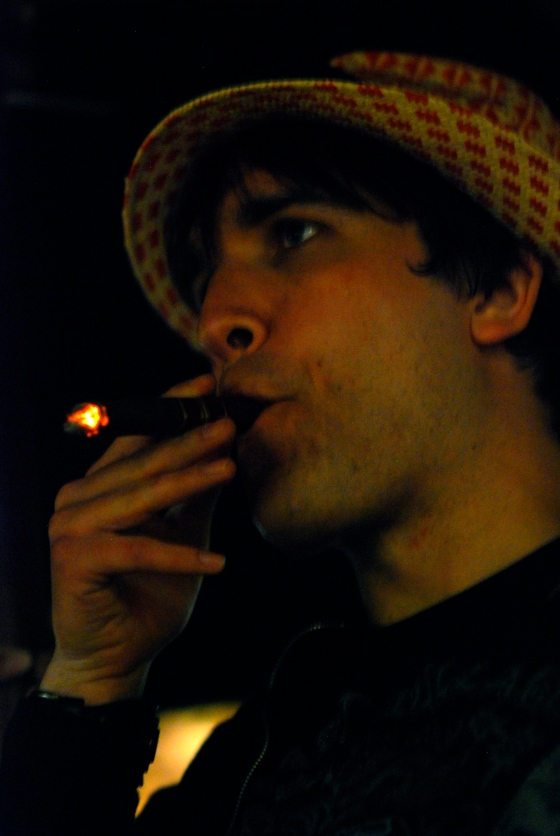 David smoking a cigar