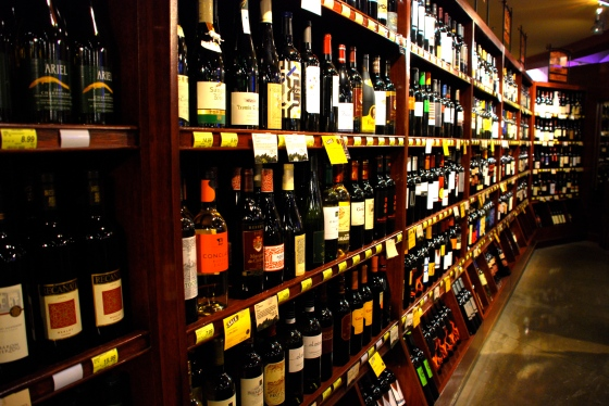 The wine section at the flagship Whole Foods
