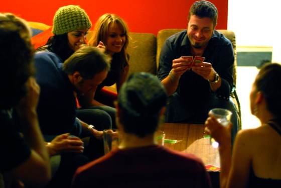 Everyone playing a card game