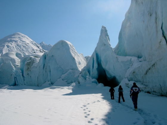 Walking towards the face of Spencer Glacier