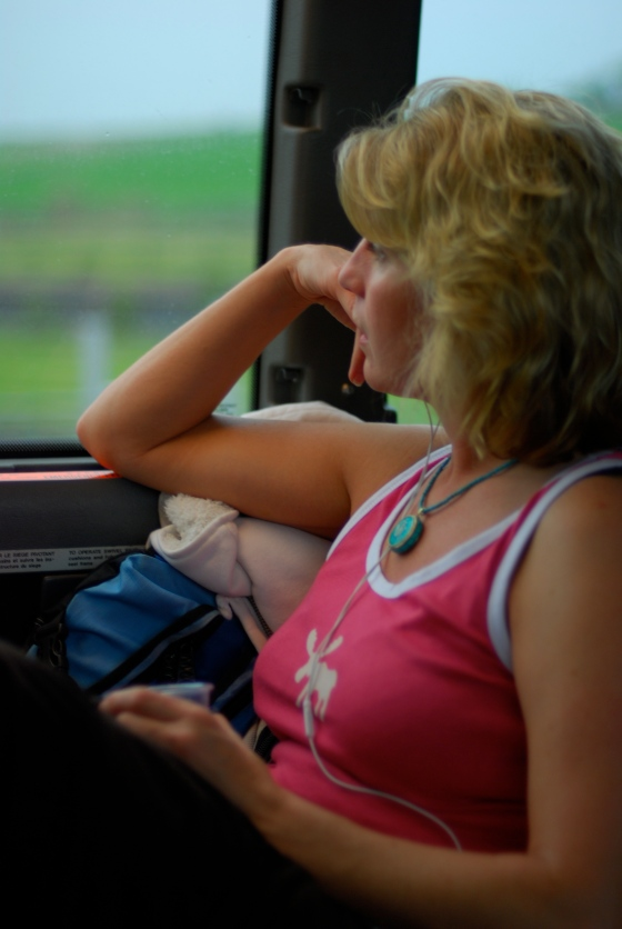 Suzanne on the bus