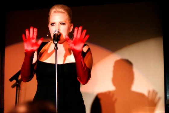 Natalie performing her solo show at the Vermont