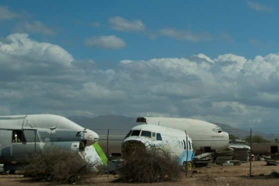 Airplane carcasses at the Aircraft Boneyard in Tucson