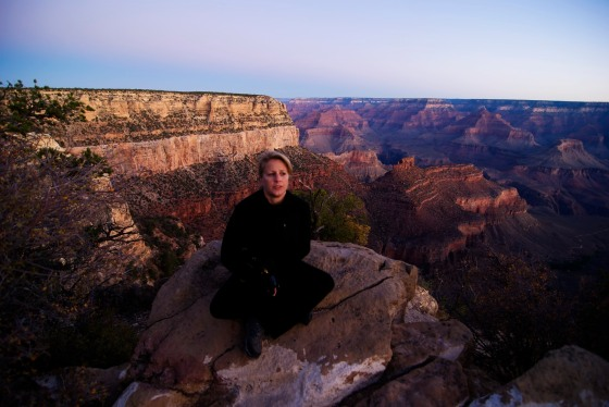 Suzanne at the Grand Canyon at sunrise