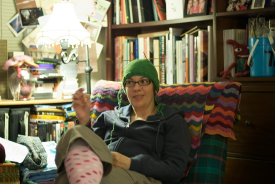 Carolyn, looking hilarious with her in-progress knit hat on her head